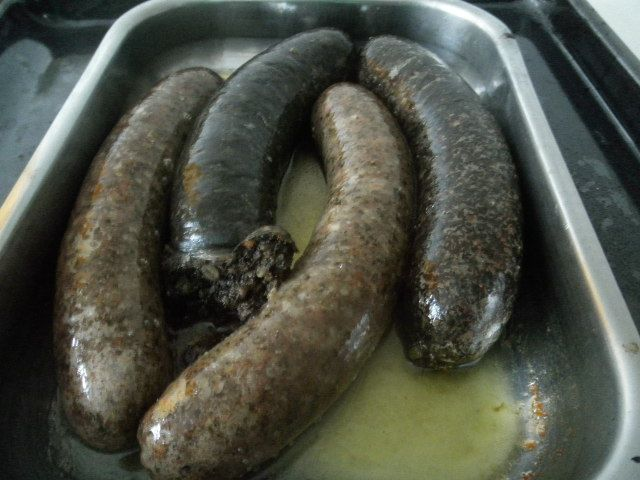 """Jaternice"" - Slovak blood sausages with rice or barley."