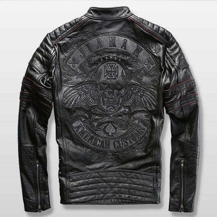 Harley Motorcycle Genuine Cowhide Leather Skull Mens Slim Short Leather Jacket #Affliction #Casual