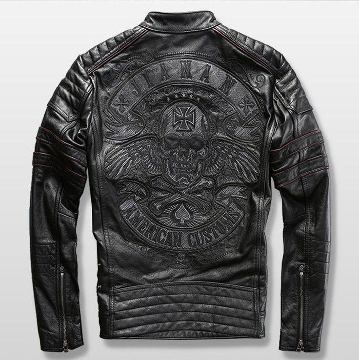 Harley Motorcycle Genuine Cowhide Leather Skull Mens Slim Short Leather Jacket #Affliction #Casual