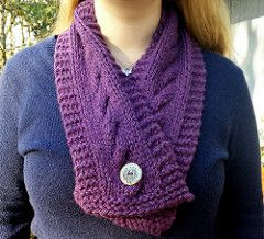 Free Pattern! Carlton Scarf by Kelli Slack (knitting)   This short buttoned scarf is named for the town of Carlton in Oregon. Like Carlton's main street this scarf is short, but also pretty. The cables remind me of the delicious French macaroons at the little bakery there, while the color is reminiscent of grapes and the many little wine shops in Carlton.When I look at this scarf, I can't help but think of Carlton and how much I enjoy my visits there.