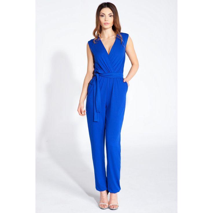 Salopeta dama albastra casual-eleganta decolteu in V  #salopetededama #salopetecasual #Overálok #Elegánsoverálok #Nőioverálok