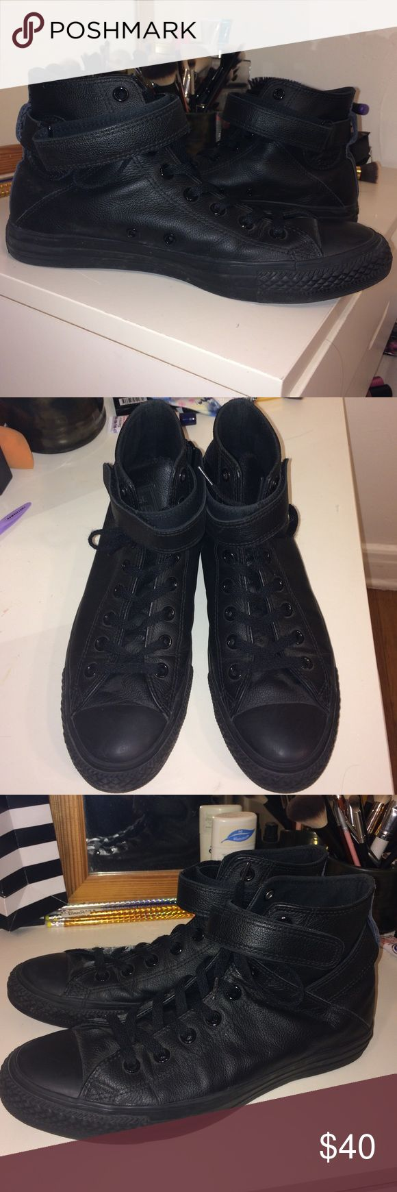 Black leather converse Black leather converse with ankle straps. Size US 10. Brand new. Worn 2 times. Converse Shoes Sneakers