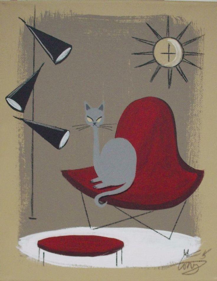 EL GATO GOMEZ PAINTING RETRO MID CENTURY MODERN CAT EAMES KNOLL STARBURST CLOCK #Modernism