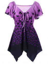 Empire Waist Butterfly Asymmetric T-Shirt - PURPLE 2XL Mobile