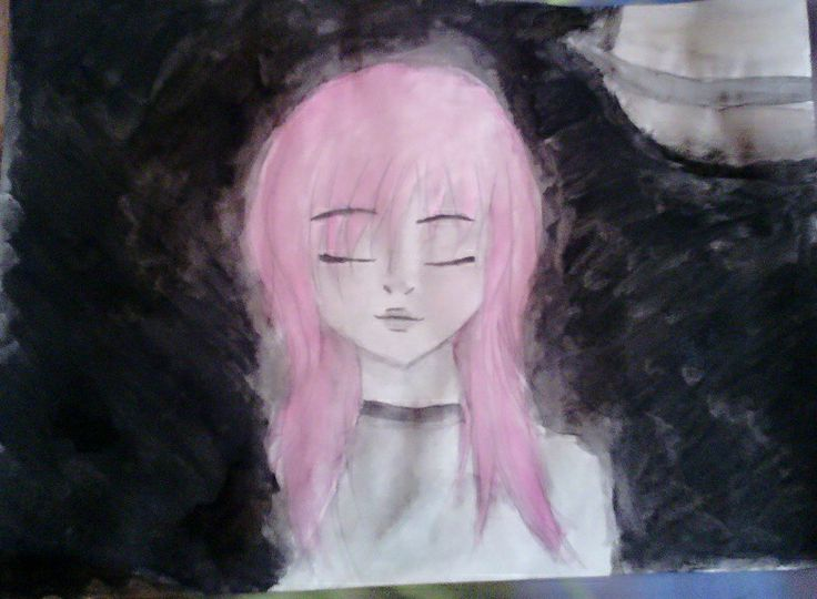 My favorite one! In this, there is much more than an alien. I made it for my bf ♥ First time using water colors~  #Alien #Girl #PinkHair #Saturn