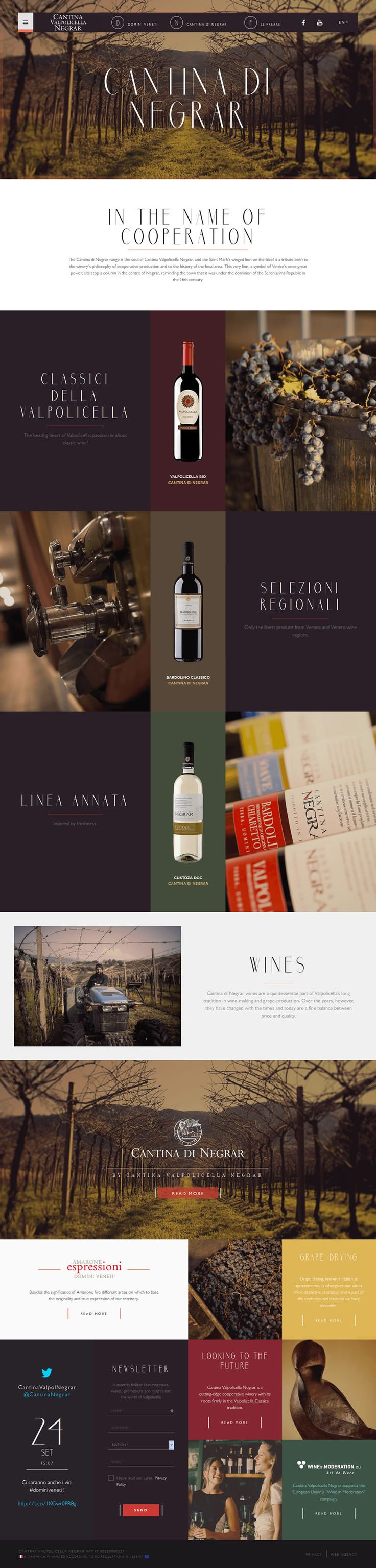Site demonstrates a great use of color pallet that compliments the other images and overall layout. As I prepare to design my Tour of Wine Country mobile and tablet, this site is a good source of inspiration. #grid #webdesign #wine
