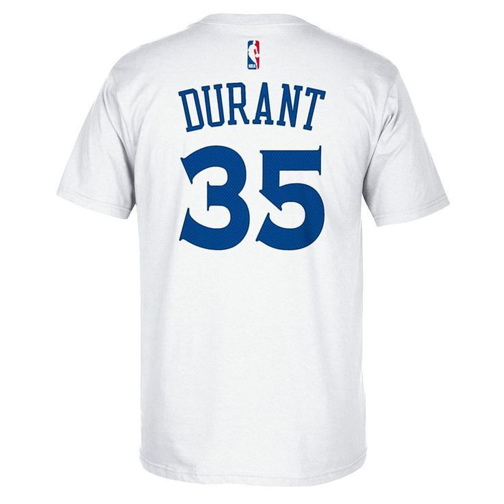 Men's Adidas Golden State Warriors Kevin Durant Player Name and Number Tee, Size: XL, White