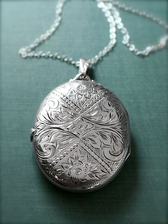 Extra Large Oval Sterling Silver Locket Necklace, Ornate Floral Engraved Pendant - Historic Artistry