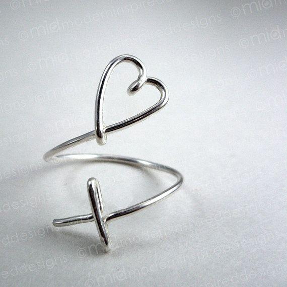 Modern Christian Ring  Cross Heart  by moderninspireddesign, $35.00