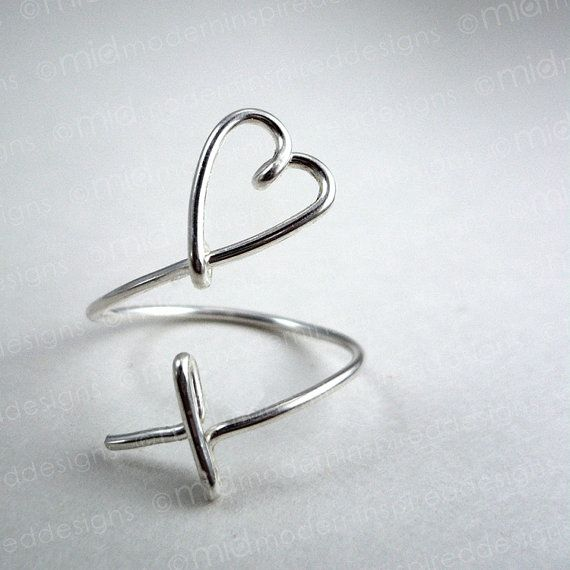 Modern Christian Ring - Cross Heart - Sterling Silver - 925 - Christian Jewelry - Wire Wrapped - Faith Jewelry - Adjustable Ring - Christian...
