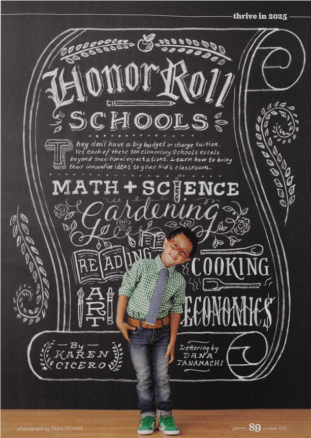 School Chalkboard Art! from Parents Mag, art by Tanamachi Studio