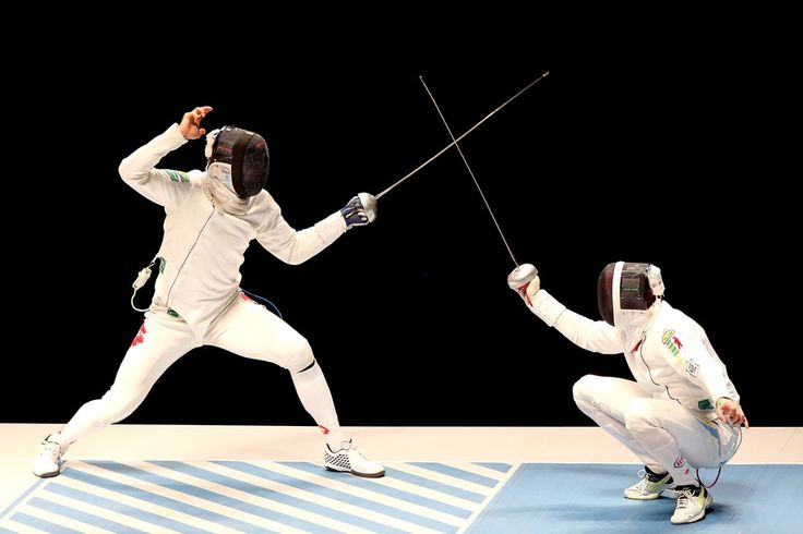 olympicsrio:    Benjamin Steffen of Switzerland fences Anatoily Herey of Ukraine in the mens Epee semifinal during the International Fencing Tournament - Aquece Rio Test Event for the Rio 2016 Olympics at Arena Carioca 3 in Olympic Park on April 24 2016 in Rio de Janeiro Brazil.