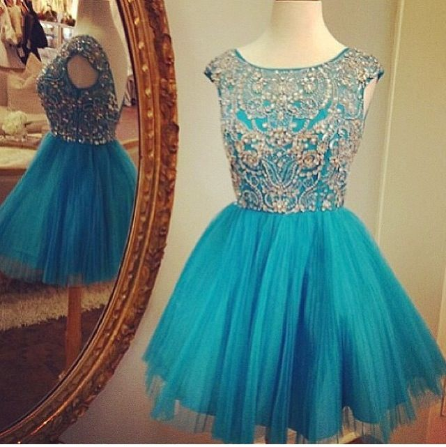 Sparkly Homecoming Dresses,Tulle with beaded cocktail dresses,sweet 16 dresses for 2016 girls 1543