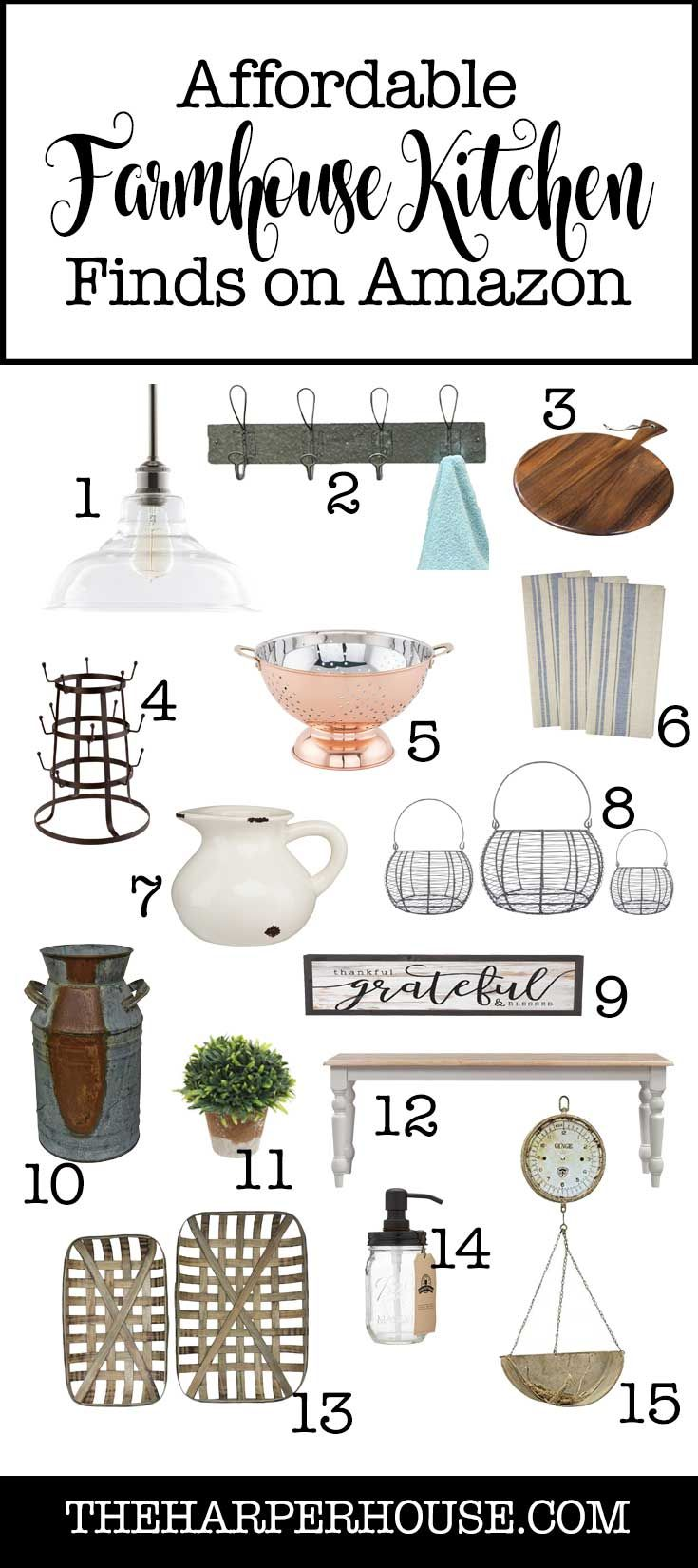 Find awesome affordable farmhouse kitchen decor on Amazon. Add character & farmhouse style without breaking the bank!