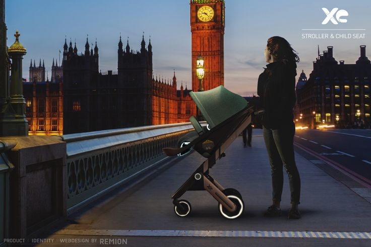 XE Stroller and Child Seat! Just a little extra, reflective sides for more visibility in the dark. London & The Tower. Industrial Design by REMION, Budapest
