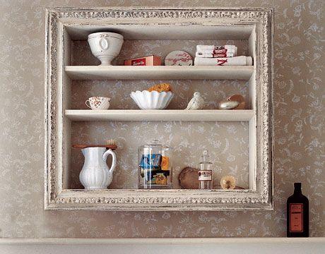 DIY Display Shelves: Old Crate/Box + Gilded Frame + Shelves: Medicine Chest, Wine Crates, Old Frames, Wooden Boxes, Medicine Cabinets, Display Shelves, Bathroom Shelves, A Frames, Old Pictures Frames