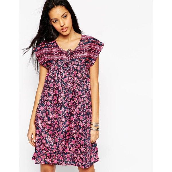 Pepe Jeans Helen Shift Dress (67 AUD) ❤ liked on Polyvore featuring dresses, pink, shift dress, tie dress, tall dresses, loose fitting dresses and pink shift dress