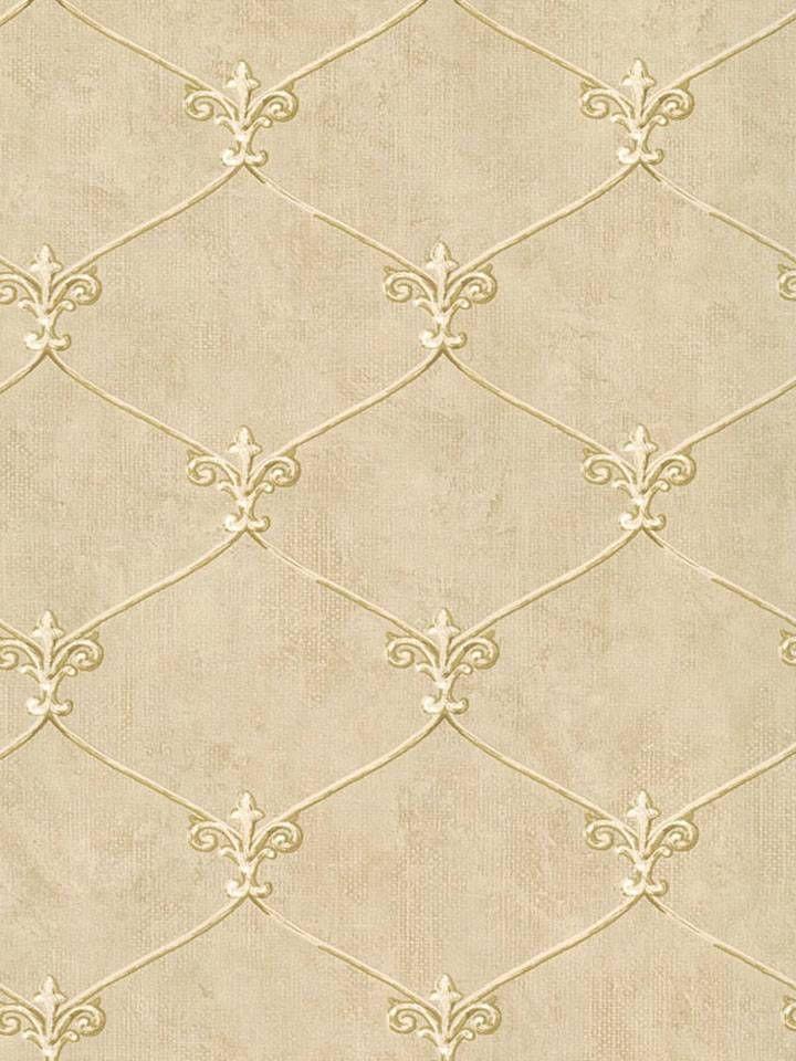 Wallpaper Small Gold Leaf Fleur de lis Lattice Trellis on Beige Background