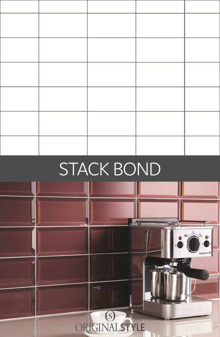 If you're planning to use metro, half or brick tiles consider the stack bond layout.The overall look is a clean modern look that will bring any kitchen or bathroom up to date.