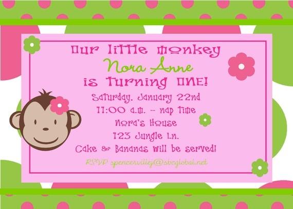 Digital Flower Mod Monkey Birthday Girl Invitation 2 add a photo