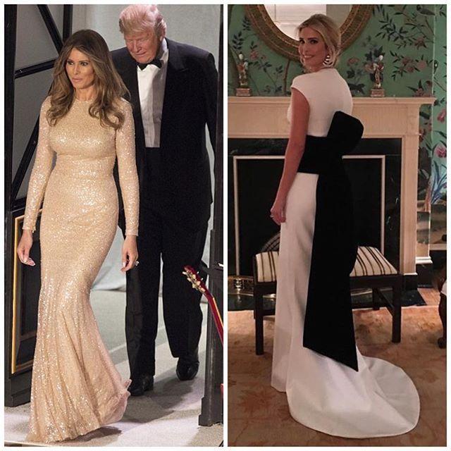 Нет мы конечно будем скучать по безупречно выверенным лукам Мишель Обамы и ее натренированным рукам но согласитесь что и эти две леди имеют огромный потенциал. И нечего тут. Итак преинагурациинный ужин в Белом Доме. На Мелании - золотое платье #reemacra То ли ещё будет.  via TATLER RUSSIA MAGAZINE OFFICIAL INSTAGRAM - Celebrity  Fashion  Haute Couture  Advertising  Culture  Beauty  Editorial Photography  Magazine Covers  Supermodels  Runway Models