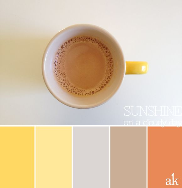 "a coffee-cup-inspired color palette // yellow, gray, taupe, ""thai tea orange"""
