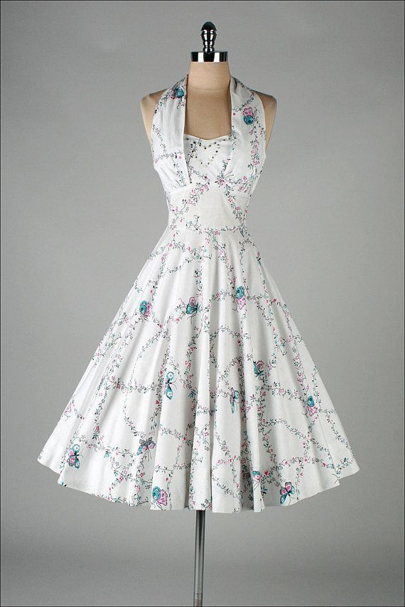 How feminine, flattering and beautiful is this dress.   Vintage 1950 White Dress with Butterfly Print