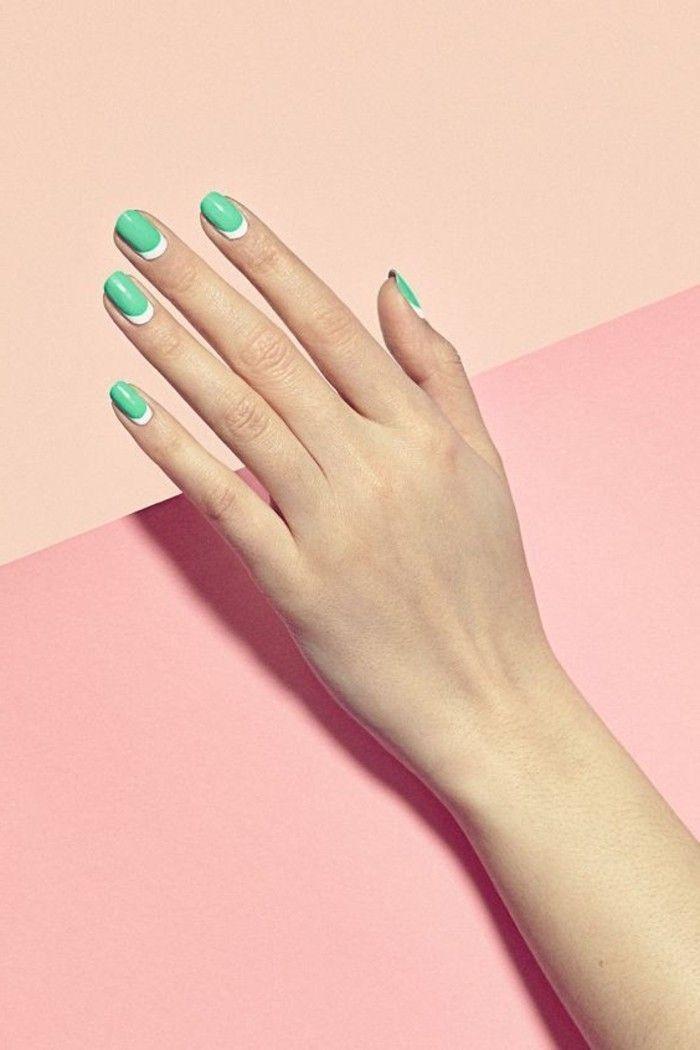 0 deco ongle gel en blanc et bleu clair ongle en gel deco blanc et vert