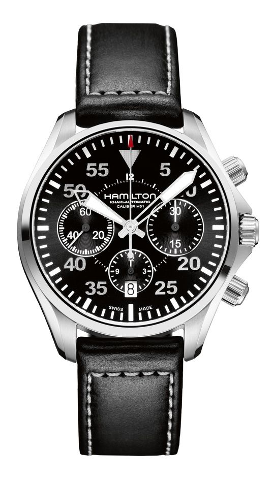 What I like about the design of this Hamilton Khaki Pilot Chronograph, are the big, fat, clear hands on a busy face… so many busy chronos have understated hands (and less luminous area), making quick assessment difficult.