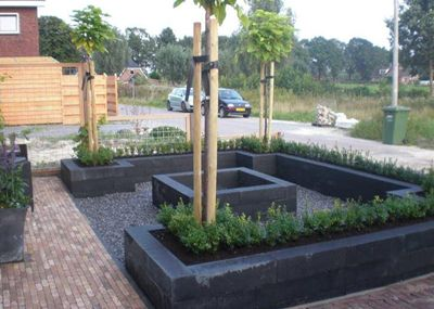 use cinder blocks for seating area and as planters