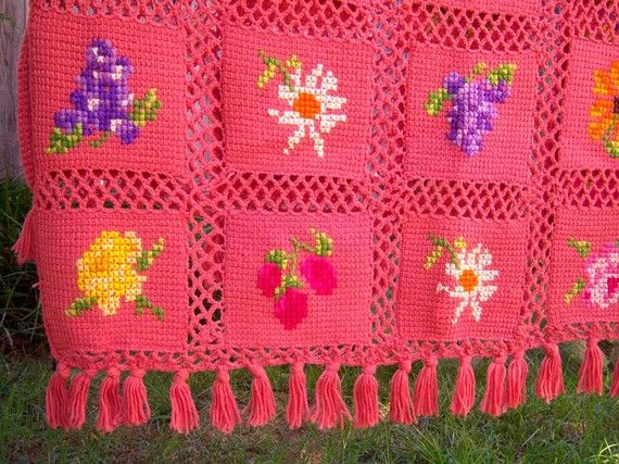 **RESERVED FOR MISSMARPLETOO**    This blanket is amazing. Individual knit squares, embroidered with flowers and fruit then chain crocheted together