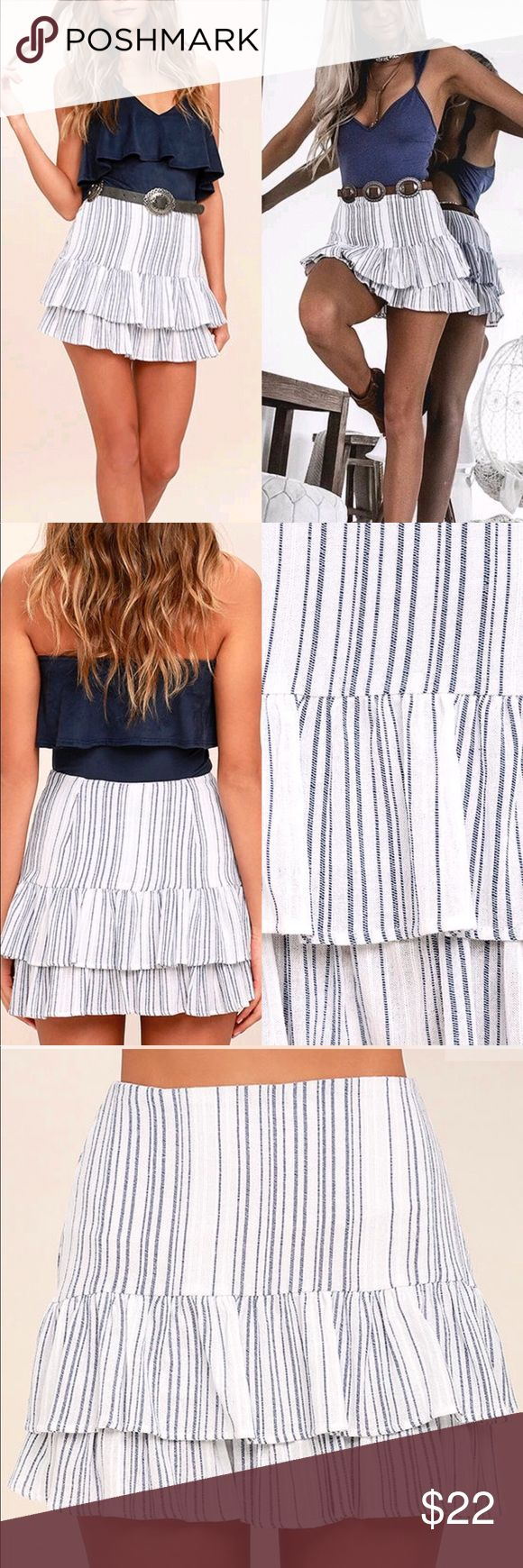 🆕 Hampton's Blue and White Skirt The Hamptons  Blue and White Striped Mini Skirt is the quintessential beach day ensemble! Gauzy woven blue and white striped fabric hugs you at the hips, then flares into a flirty, ruffled trumpet skirt. Hidden side zipper/clasp. Belt not included. As Seen On Kirsty of @kirstyfleming! Fully lined. Self: 100% Cotton. Lining: 100% Polyester. Hand Wash Cold. Made with Love in the U.S.A. Skirts