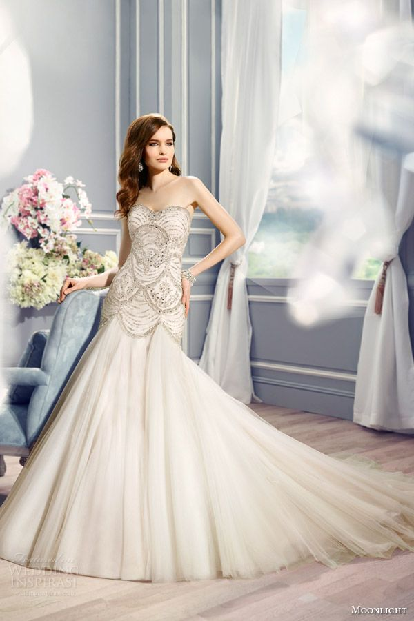 moonlight couture bridal fall 2016 h1287 strapless sweetheart beaded bodice fit flare wedding dress