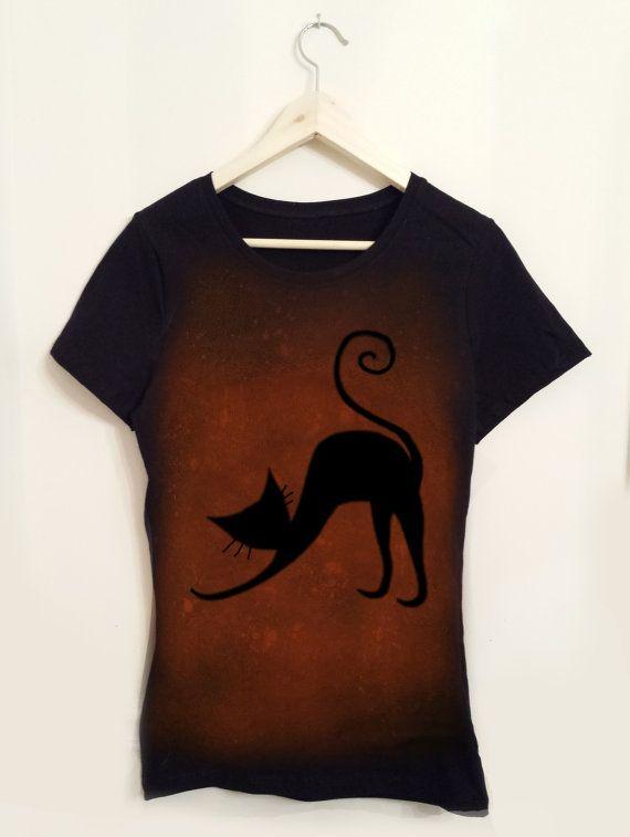 Playera color negro y gris con estampado de gato 100% algodón Tallas CH a644a03a46433