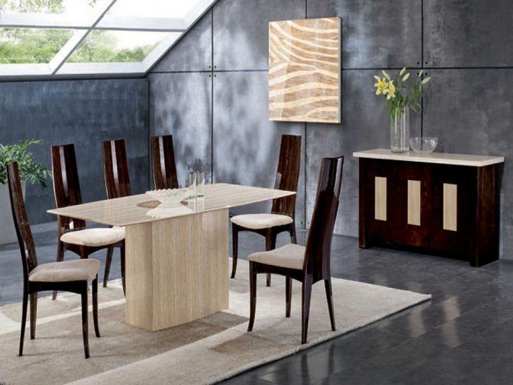 Montaubon Cream & Beige Marble Dining Table