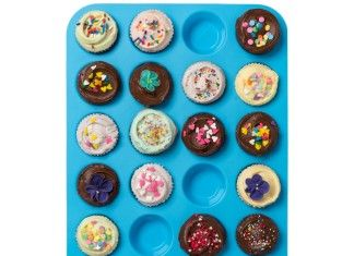 $3.99 For Lucentee® Large Mini Muffin Pans – Top Non Stick Bakeware for Muffins, Cakes and Cupcakes – 24 Cups Texas Jumbo Silicone Mold / Baking Tray – Heat Resistant Tins up to 450°F- Easy to Clean – Blue