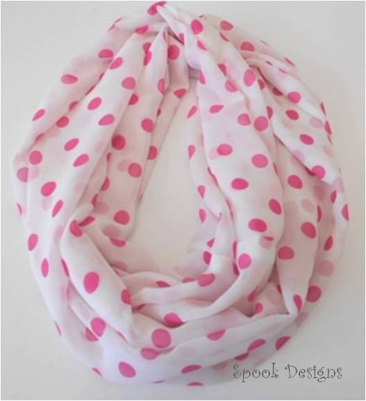 A personal favorite from my Etsy shop https://www.etsy.com/listing/262570062/infinity-scarf-chiffon-pink-spot