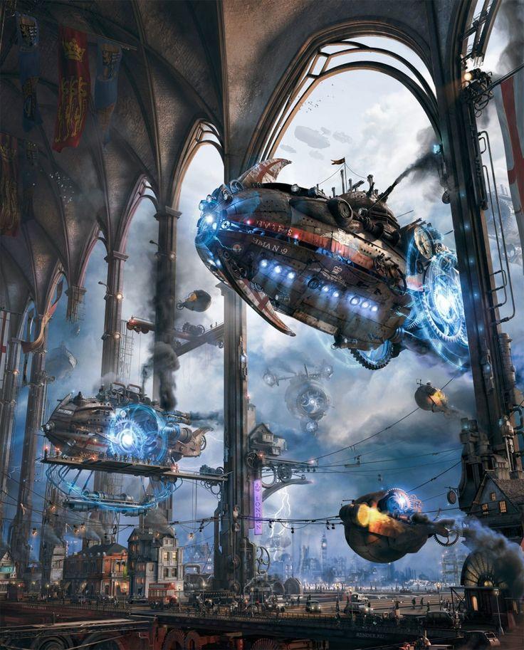 Sci-Fi Art: Her Majesty's Zeppelins - 3D, Sci-fiCoolvibe – Digital Art