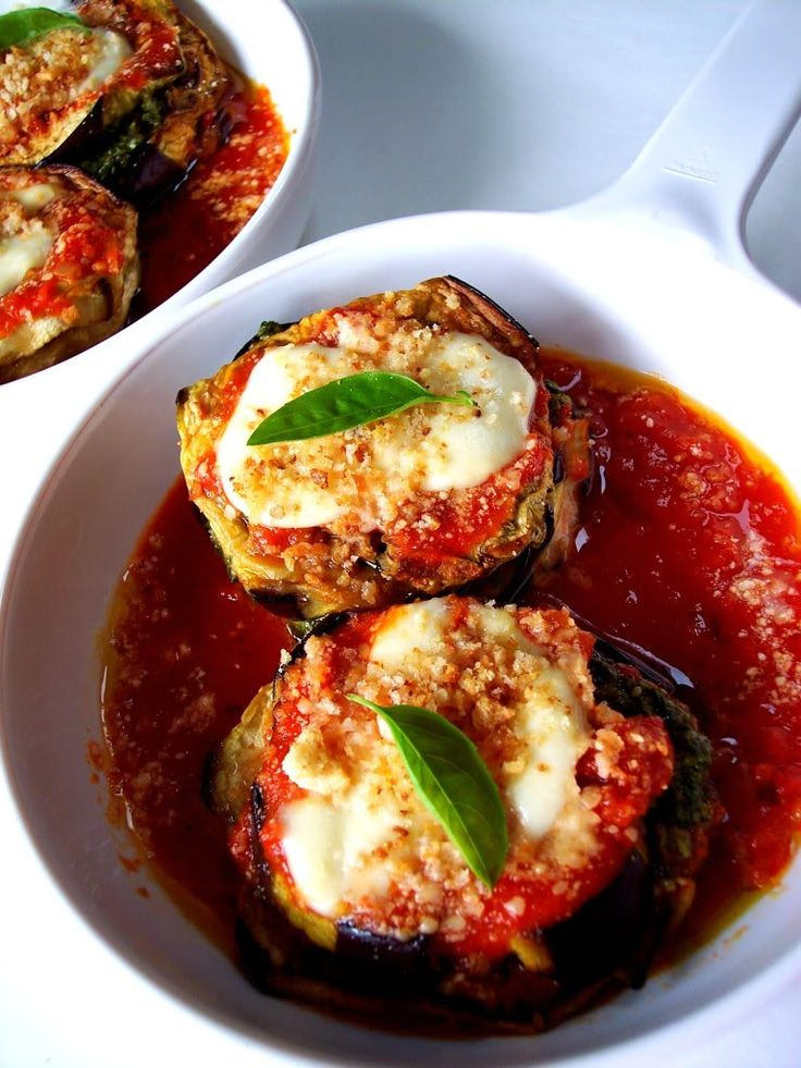Eggplant Stacks - Proud Italian Cook  Made these last night and added tomato slices. Pretty easy and very impressive looking!