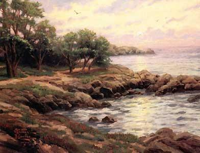 Sunset on Monterey Bay - Thomas Kinkade - World-Wide-Art.com - $670.00 #Kinkade