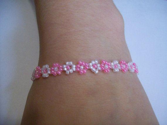 Native American Beaded Daisy Chain Flower Bracelet Pink ...