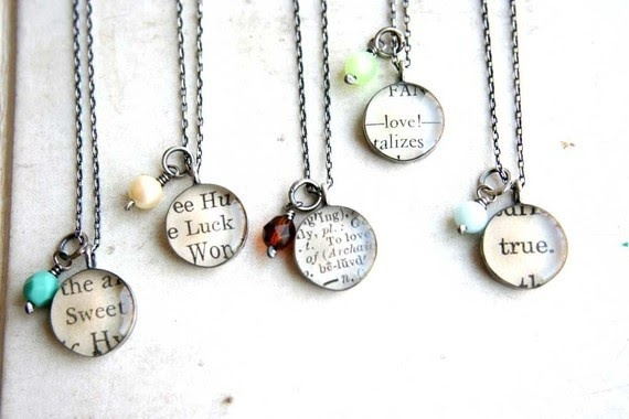 Turn favorite sayings into a necklace with mod podge and glass pebbles