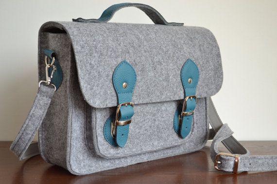 Laptop Bag 15 in with leather strap Felt by FeltDesignStudio