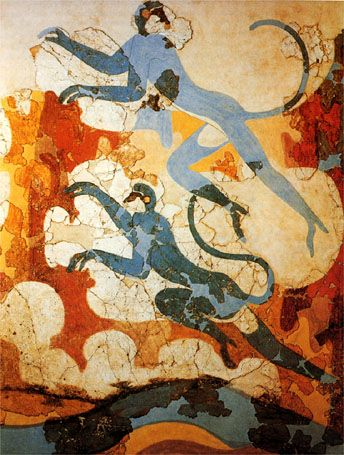 Fresco of blue monkeys from the excavations of bronze age Akrotiri on the Greek island of Santorini (ancient Thera)