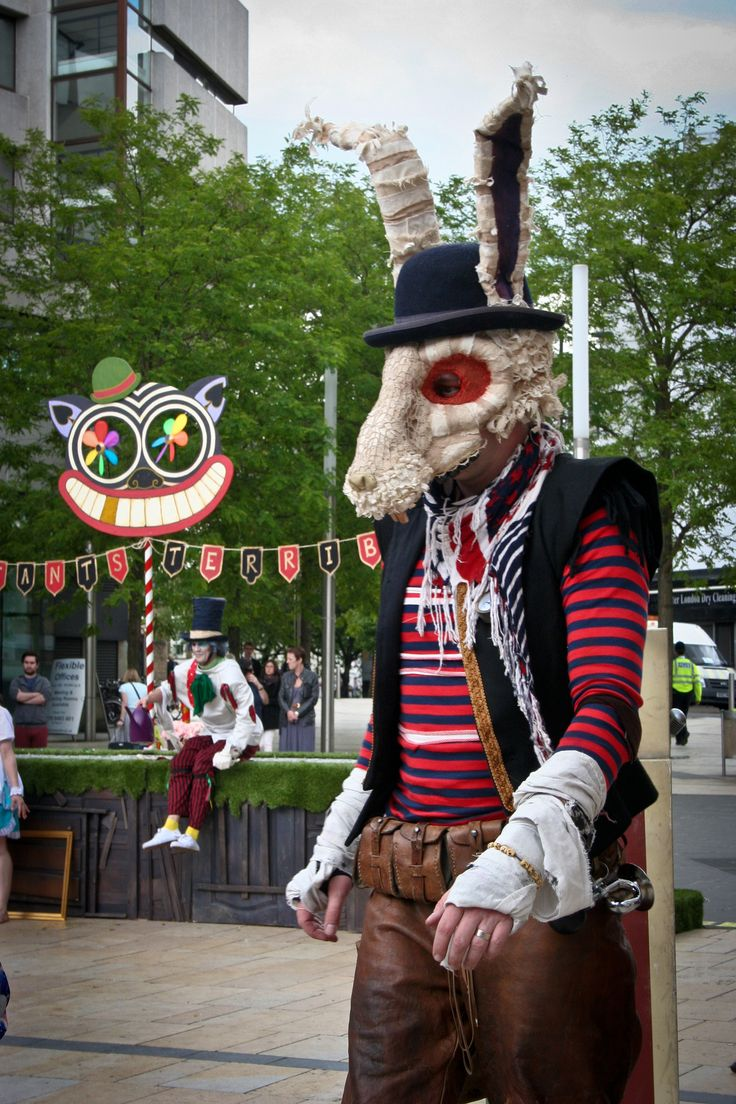 https://flic.kr/p/coWNhf | The March Hare | Part of Les Enfants Terribles theatre company's take on Alice In Wonderland. Theatre in The Square 2012, performed at lunchtimes outside The Lyric Theatre, Hammersmith, London.