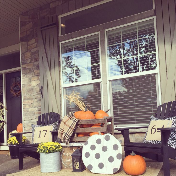 Bringing some fall fun to the porch. Design by Janna Allbritton of Yellow Prairie Interior Design.