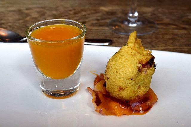 Sweet Potato Dumplings with Pomegranate, mango & Ginger Extract from the Autumn Tasting Menu at The Ambrette, Canterbury | www.rachelphipps.com @rachelphipps