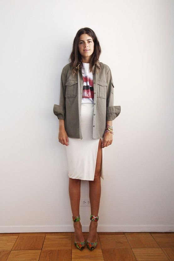 LET IT BE army jacket, white skirt with slit, graphic t, man repeller,