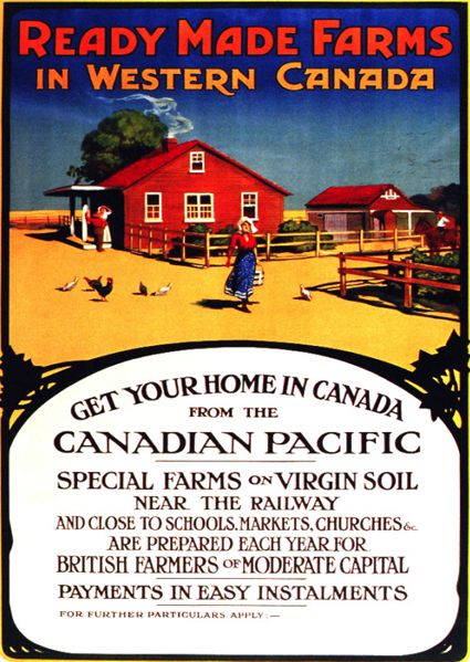 Vintage Canadian Pacific poster promoting settlement in western Canada.