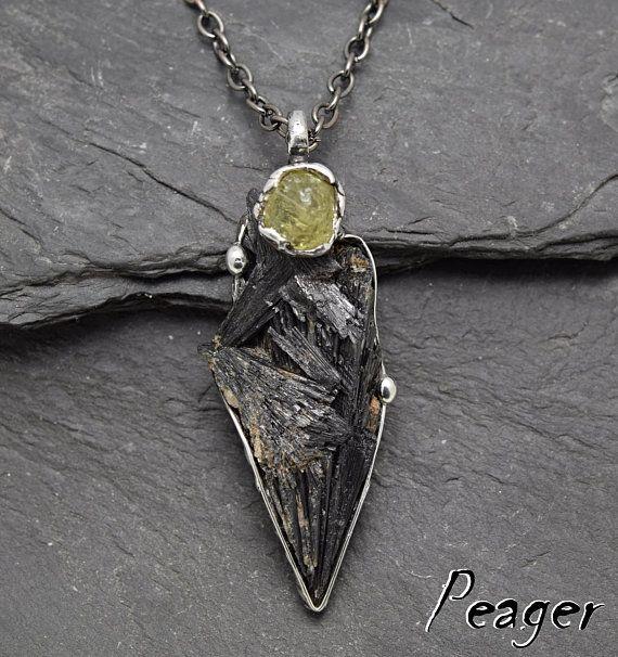 Black Kyanite PendantKyanite necklaceBohemian pendantYellow